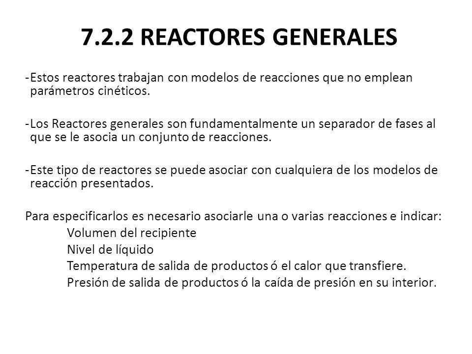 7.2.2 REACTORES GENERALES Estos reactores trabajan con modelos de reacciones que no emplean parámetros cinéticos.
