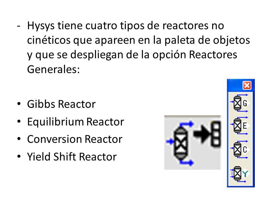 Hysys tiene cuatro tipos de reactores no cinéticos que apareen en la paleta de objetos y que se despliegan de la opción Reactores Generales: