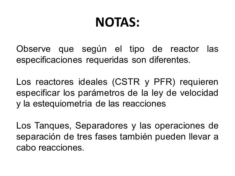 NOTAS: Observe que según el tipo de reactor las especificaciones requeridas son diferentes.