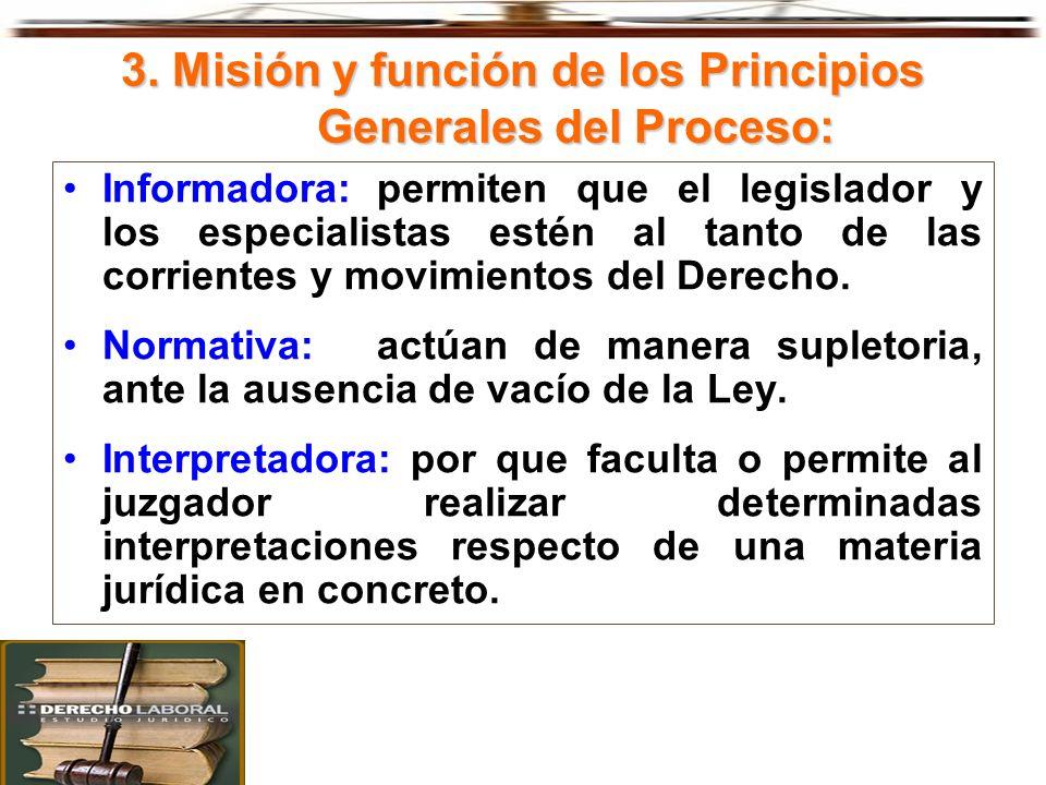 3. Misión y función de los Principios Generales del Proceso: