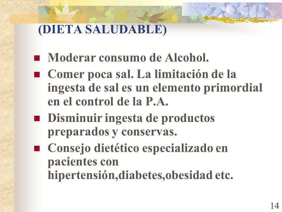 (DIETA SALUDABLE) Moderar consumo de Alcohol. Comer poca sal. La limitación de la ingesta de sal es un elemento primordial en el control de la P.A.