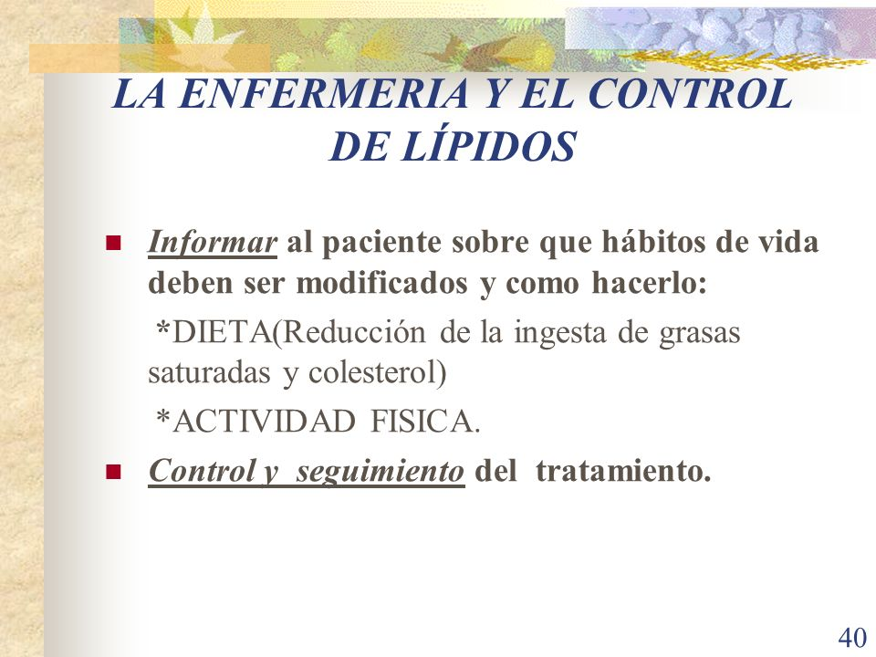 LA ENFERMERIA Y EL CONTROL DE LÍPIDOS