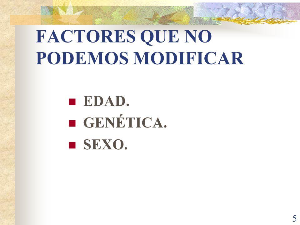 FACTORES QUE NO PODEMOS MODIFICAR