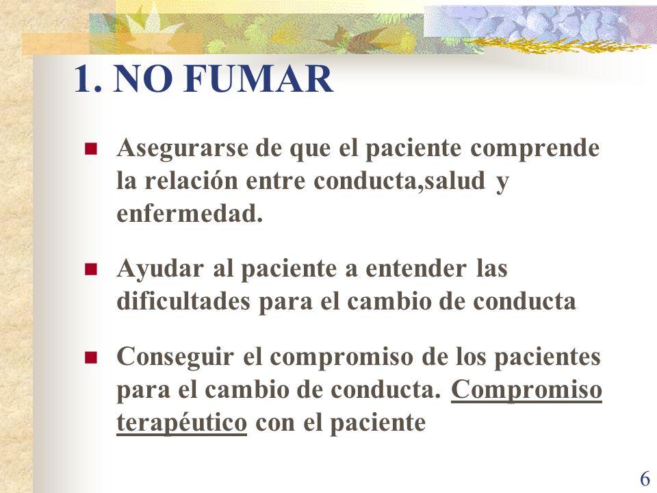 1. NO FUMAR Asegurarse de que el paciente comprende la relación entre conducta,salud y enfermedad.