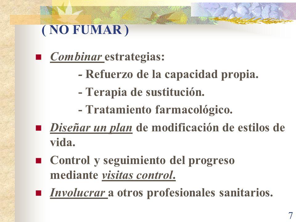 ( NO FUMAR ) Combinar estrategias: - Refuerzo de la capacidad propia.