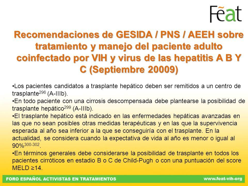 Recomendaciones de GESIDA / PNS / AEEH sobre tratamiento y manejo del paciente adulto coinfectado por VIH y virus de las hepatitis A B Y C (Septiembre 20009)