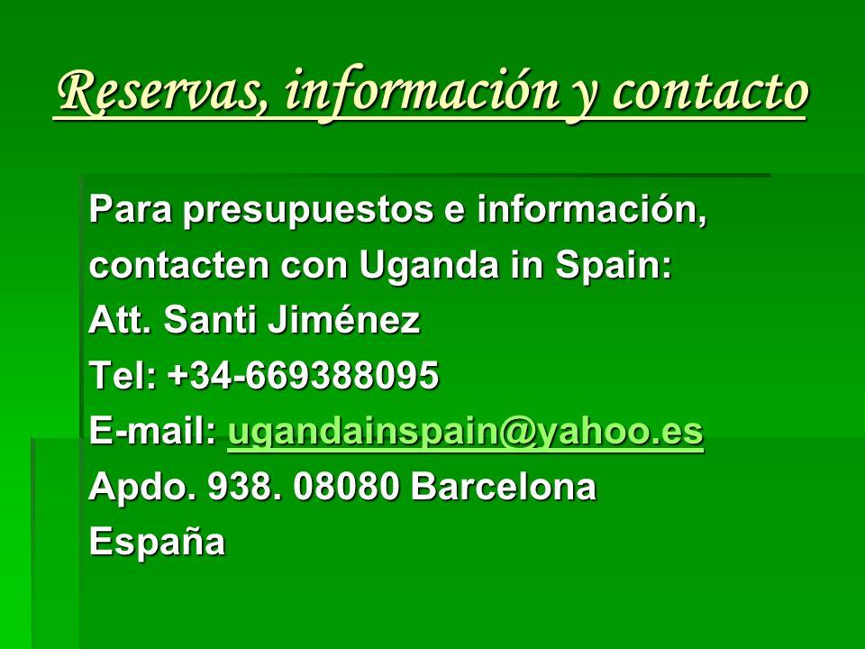 Reservas, información y contacto