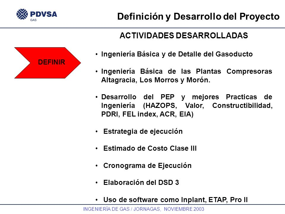 Definición y Desarrollo del Proyecto ACTIVIDADES DESARROLLADAS