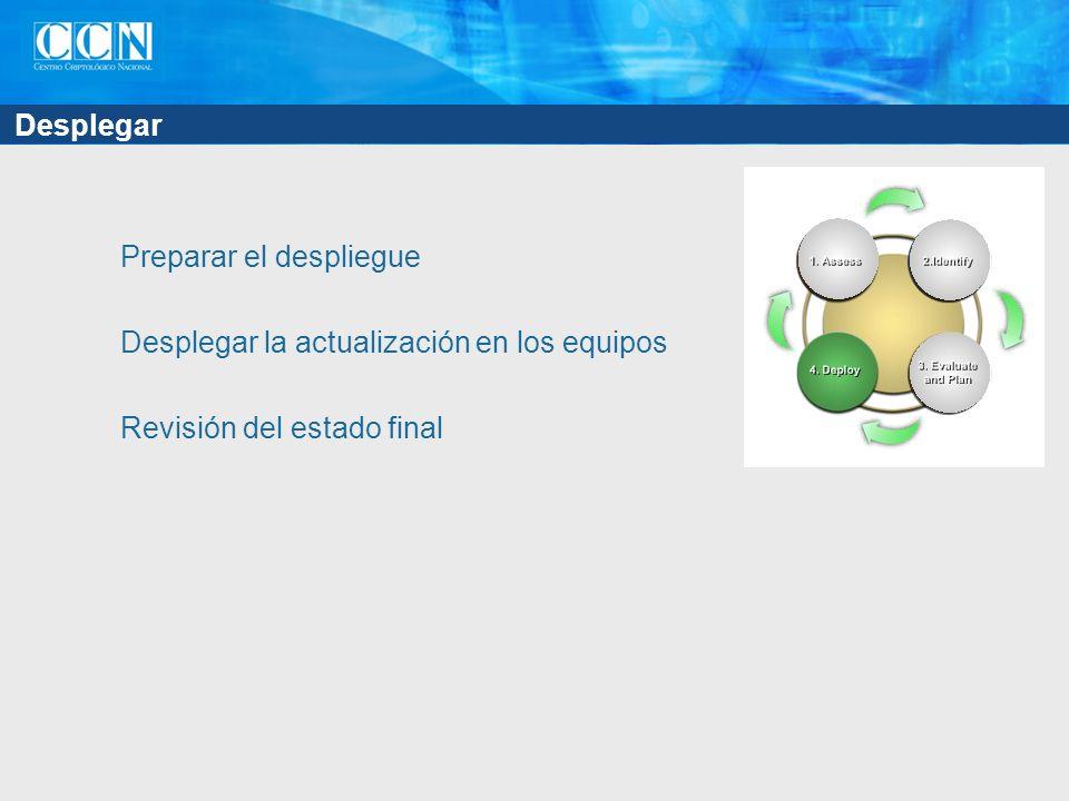 Desplegar Preparar el despliegue Desplegar la actualización en los equipos Revisión del estado final