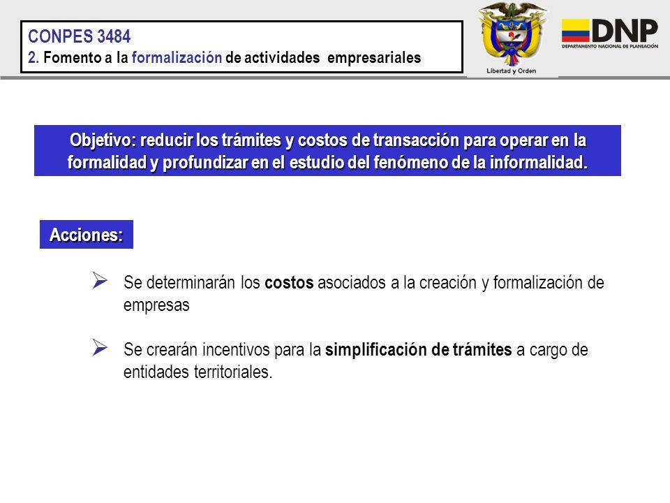 CONPES 3484 2. Fomento a la formalización de actividades empresariales.