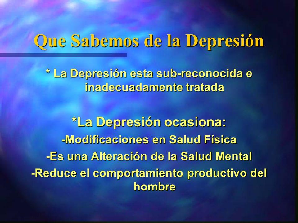 Que Sabemos de la Depresión