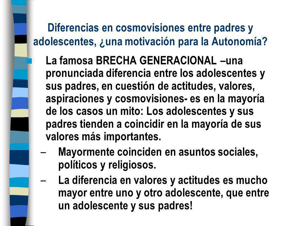 Diferencias en cosmovisiones entre padres y adolescentes, ¿una motivación para la Autonomía