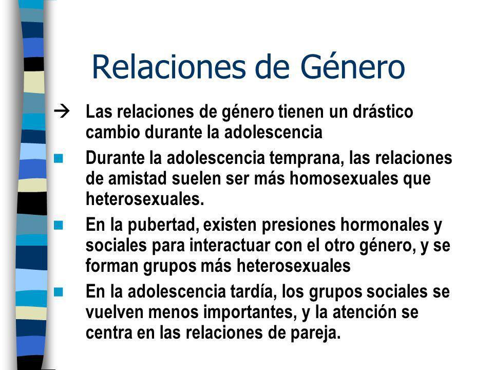Relaciones de Género  Las relaciones de género tienen un drástico cambio durante la adolescencia.