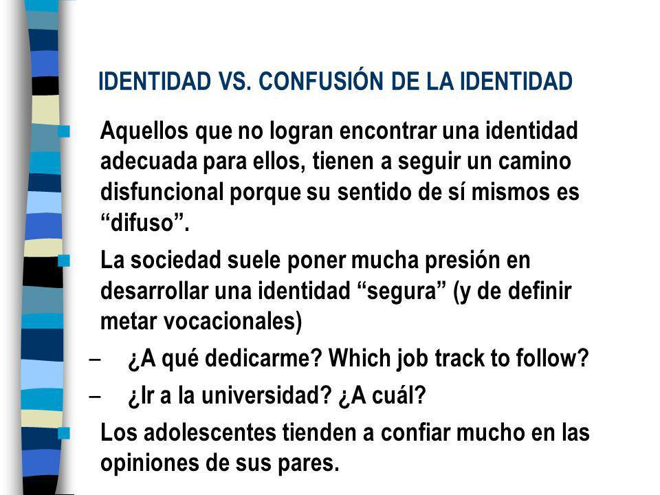 IDENTIDAD VS. CONFUSIÓN DE LA IDENTIDAD