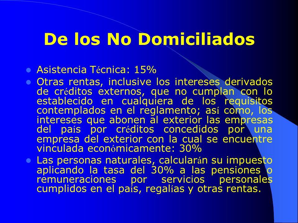 De los No Domiciliados Asistencia Técnica: 15%