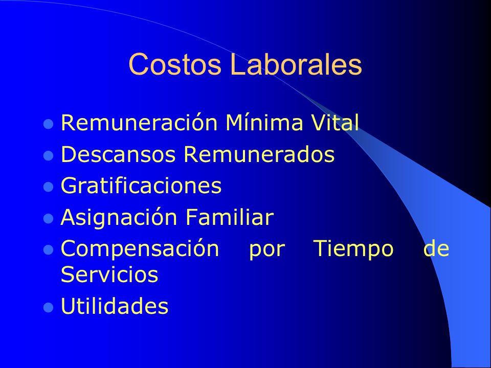 Costos Laborales Remuneración Mínima Vital Descansos Remunerados