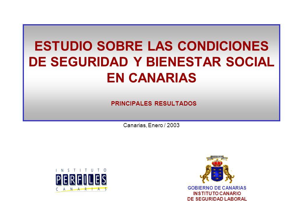 ESTUDIO SOBRE LAS CONDICIONES DE SEGURIDAD Y BIENESTAR SOCIAL EN CANARIAS PRINCIPALES RESULTADOS