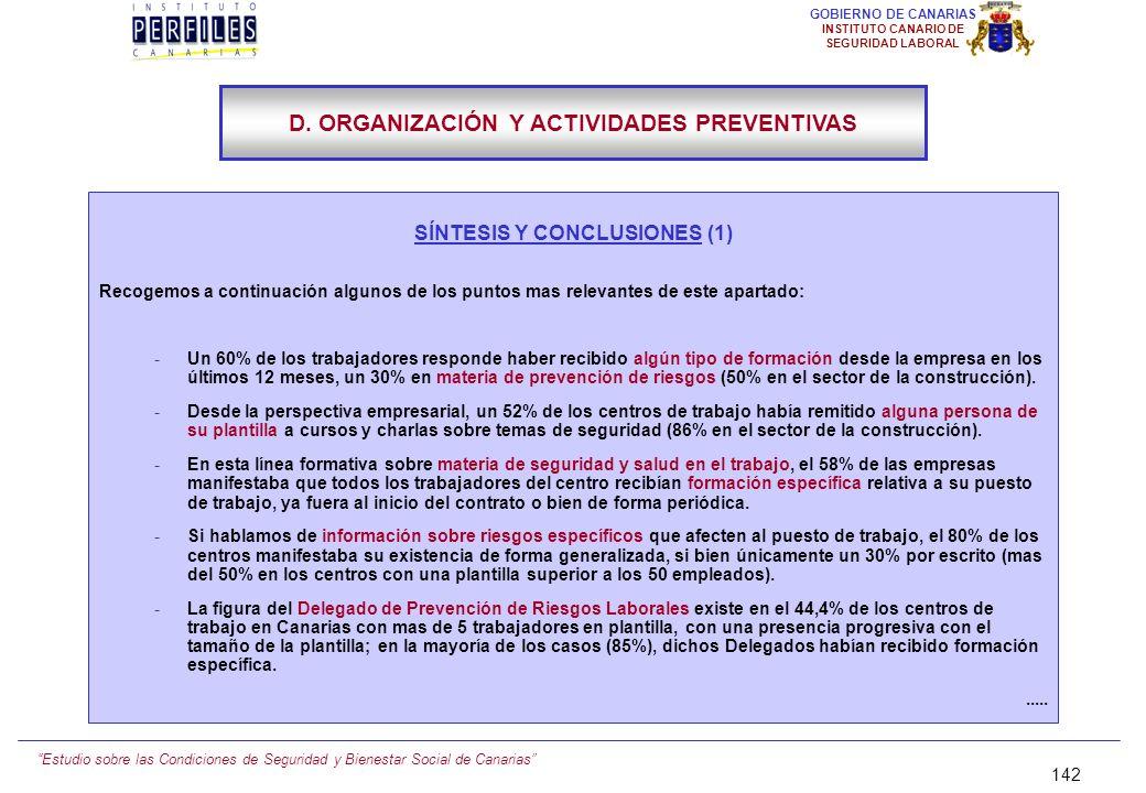 D. ORGANIZACIÓN Y ACTIVIDADES PREVENTIVAS SÍNTESIS Y CONCLUSIONES (1)