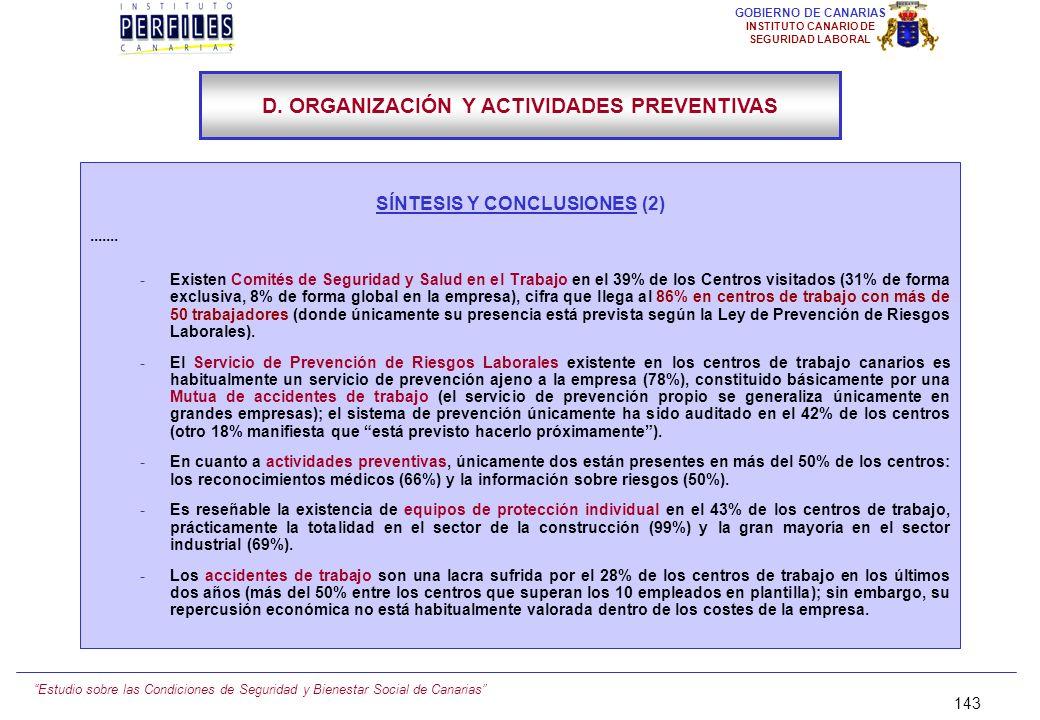 D. ORGANIZACIÓN Y ACTIVIDADES PREVENTIVAS SÍNTESIS Y CONCLUSIONES (2)