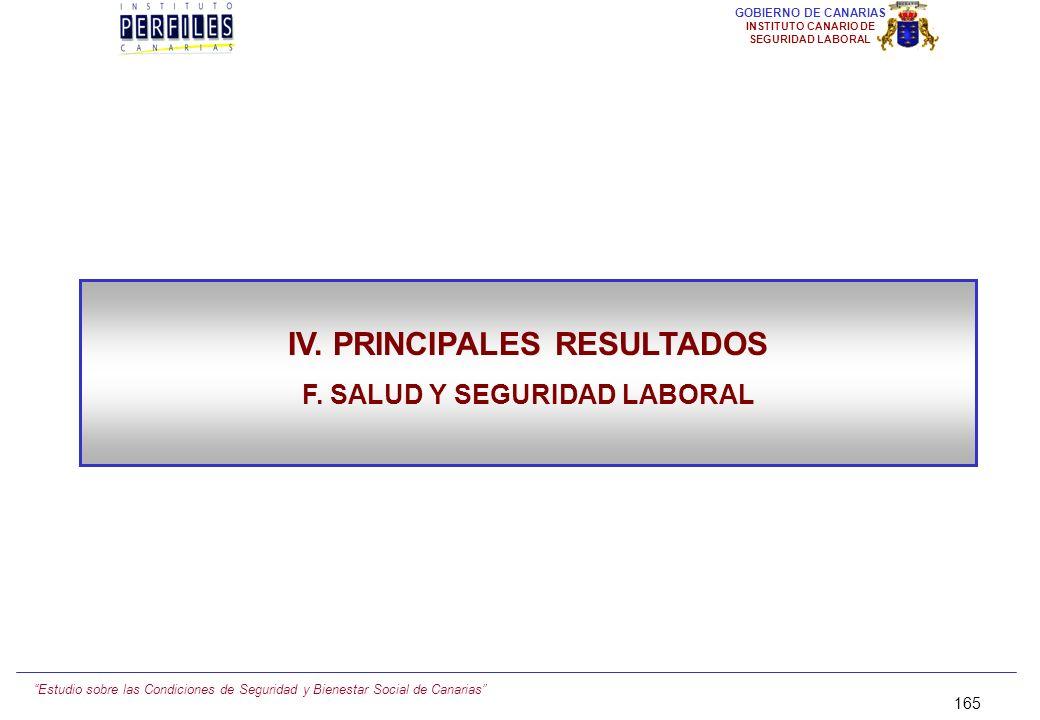 IV. PRINCIPALES RESULTADOS F. SALUD Y SEGURIDAD LABORAL