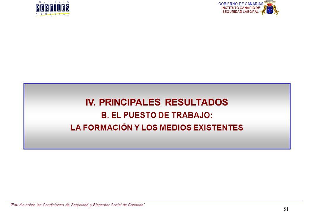 IV. PRINCIPALES RESULTADOS LA FORMACIÓN Y LOS MEDIOS EXISTENTES