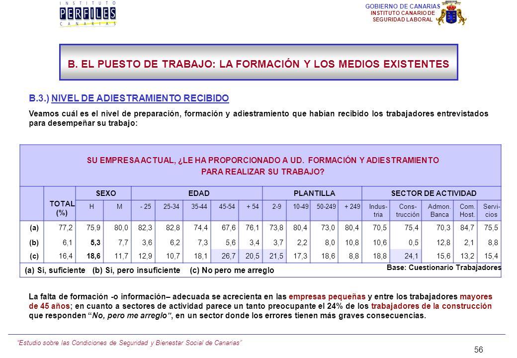 B. EL PUESTO DE TRABAJO: LA FORMACIÓN Y LOS MEDIOS EXISTENTES