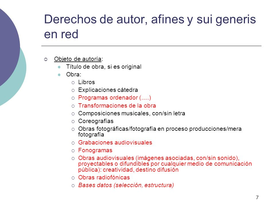 Derechos de autor, afines y sui generis en red