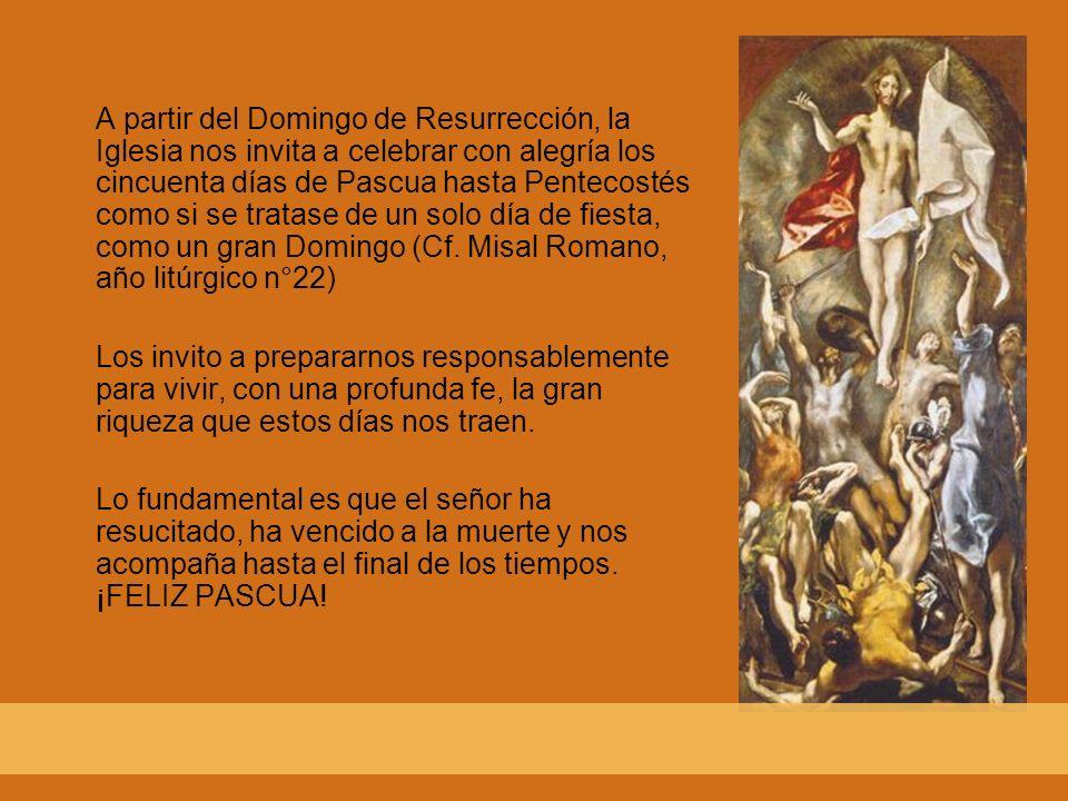 A partir del Domingo de Resurrección, la Iglesia nos invita a celebrar con alegría los cincuenta días de Pascua hasta Pentecostés como si se tratase de un solo día de fiesta, como un gran Domingo (Cf. Misal Romano, año litúrgico n°22)