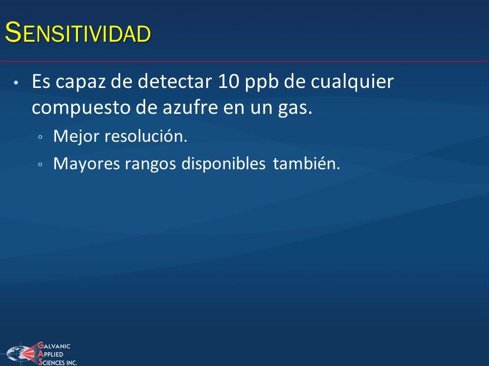 Sensitividad Es capaz de detectar 10 ppb de cualquier compuesto de azufre en un gas. Mejor resolución.