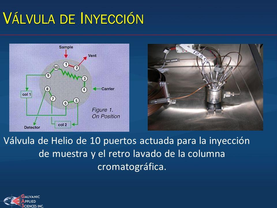 Válvula de Inyección Válvula de Helio de 10 puertos actuada para la inyección de muestra y el retro lavado de la columna cromatográfica.