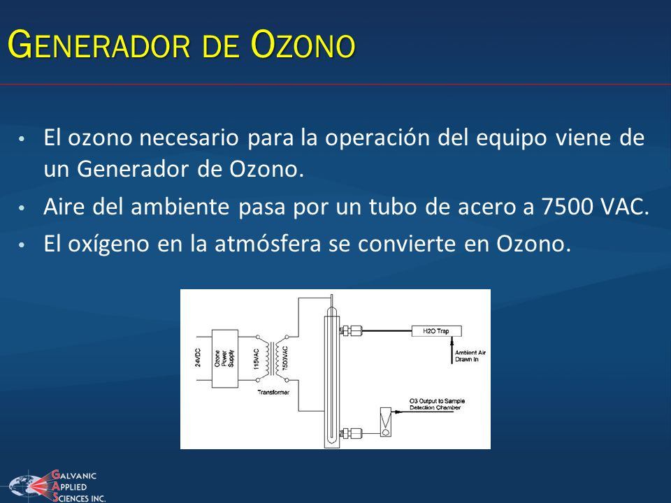 Generador de Ozono El ozono necesario para la operación del equipo viene de un Generador de Ozono.