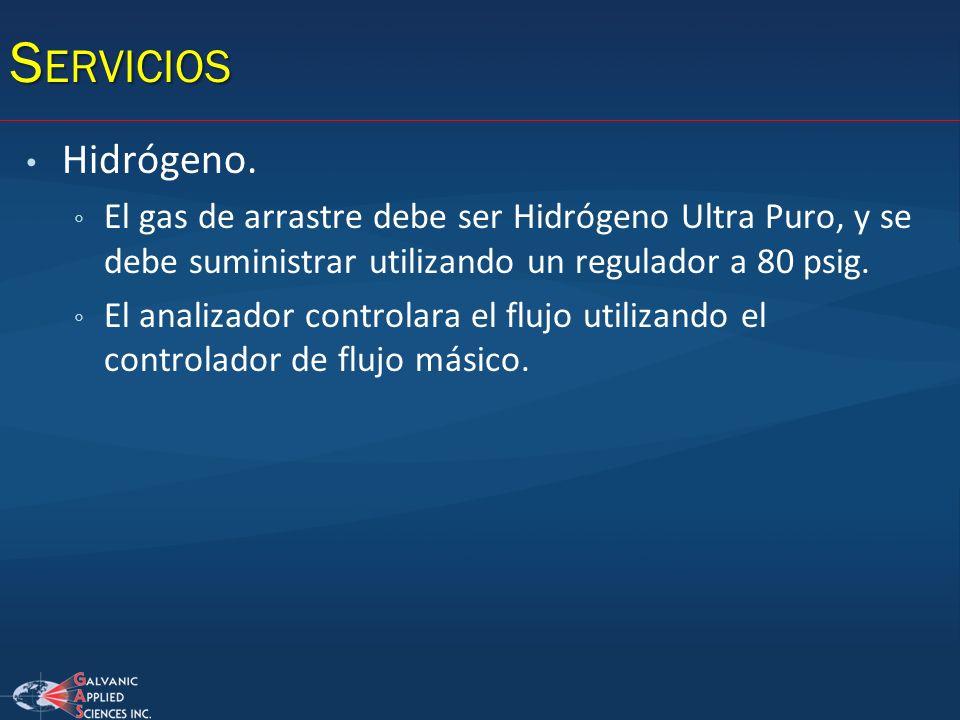 Servicios Hidrógeno. El gas de arrastre debe ser Hidrógeno Ultra Puro, y se debe suministrar utilizando un regulador a 80 psig.