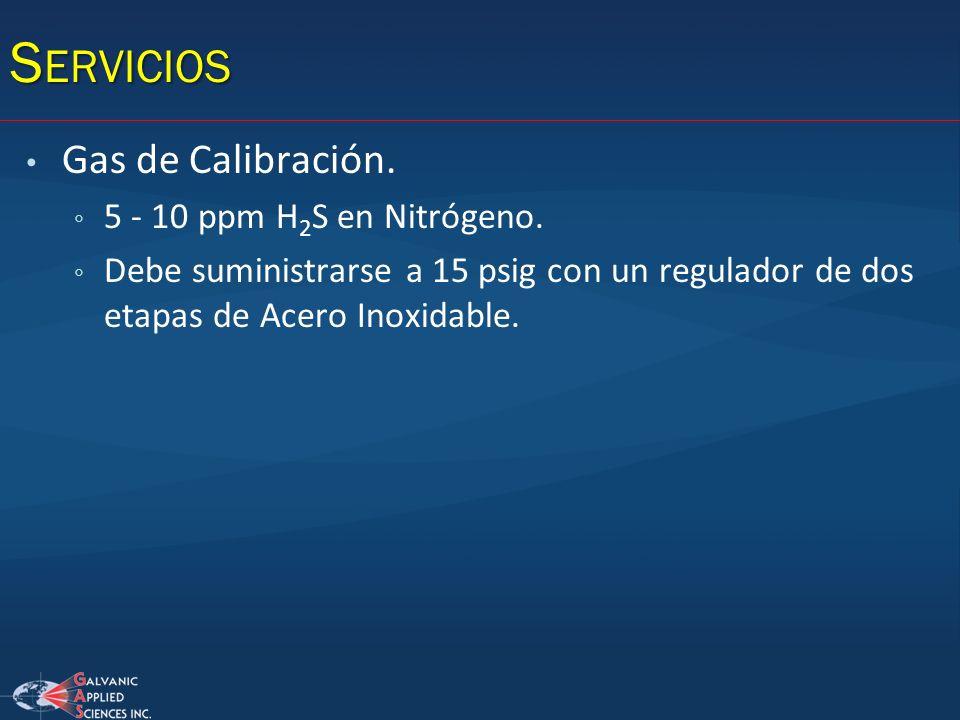Servicios Gas de Calibración. 5 - 10 ppm H2S en Nitrógeno.