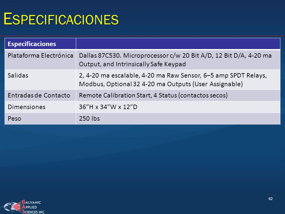 Especificaciones Especificaciones Plataforma Electrónica
