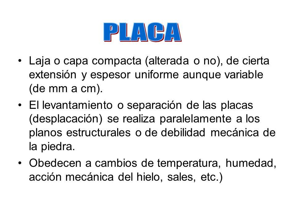 PLACA Laja o capa compacta (alterada o no), de cierta extensión y espesor uniforme aunque variable (de mm a cm).