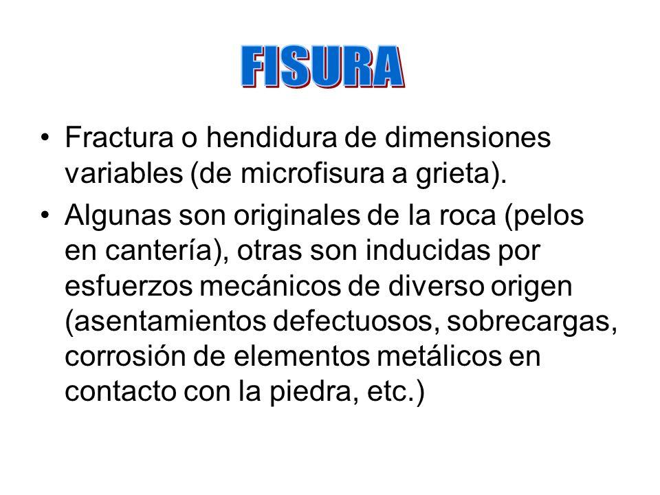 FISURA Fractura o hendidura de dimensiones variables (de microfisura a grieta).