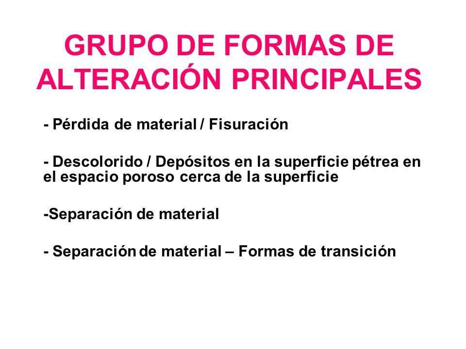 GRUPO DE FORMAS DE ALTERACIÓN PRINCIPALES