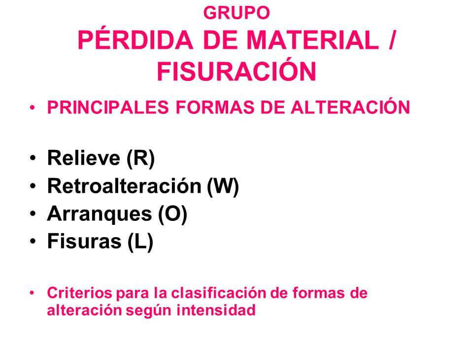 GRUPO PÉRDIDA DE MATERIAL / FISURACIÓN