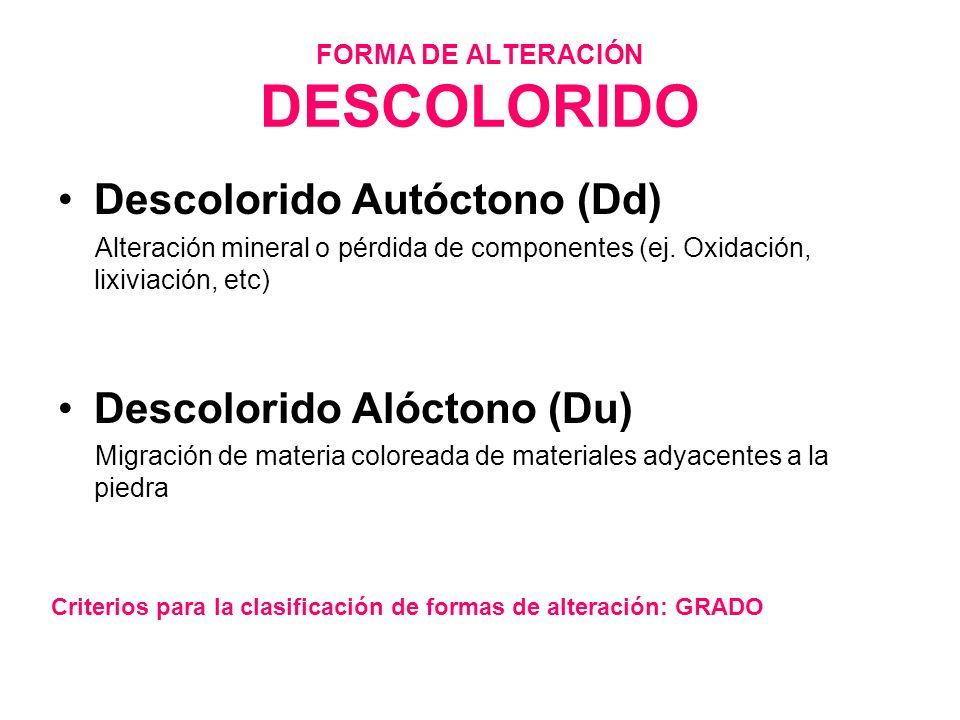FORMA DE ALTERACIÓN DESCOLORIDO