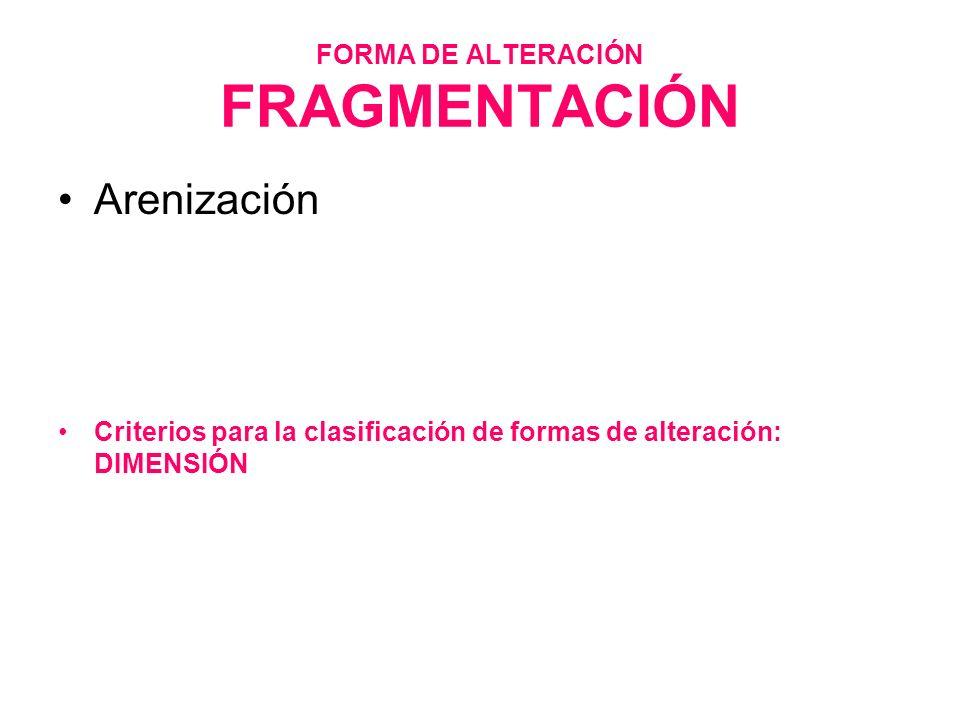 FORMA DE ALTERACIÓN FRAGMENTACIÓN