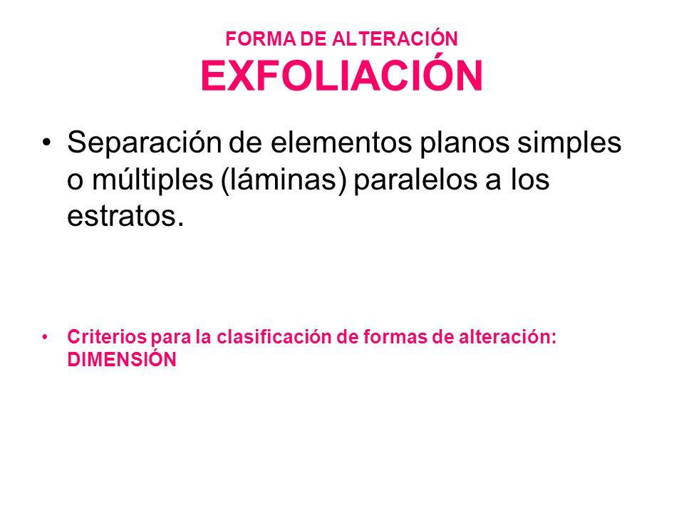 FORMA DE ALTERACIÓN EXFOLIACIÓN