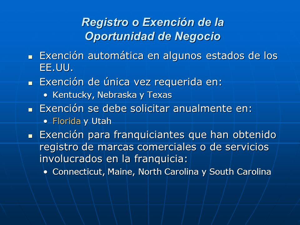 Registro o Exención de la Oportunidad de Negocio
