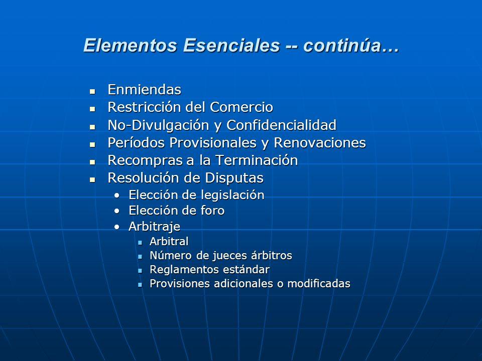 Elementos Esenciales -- continúa…
