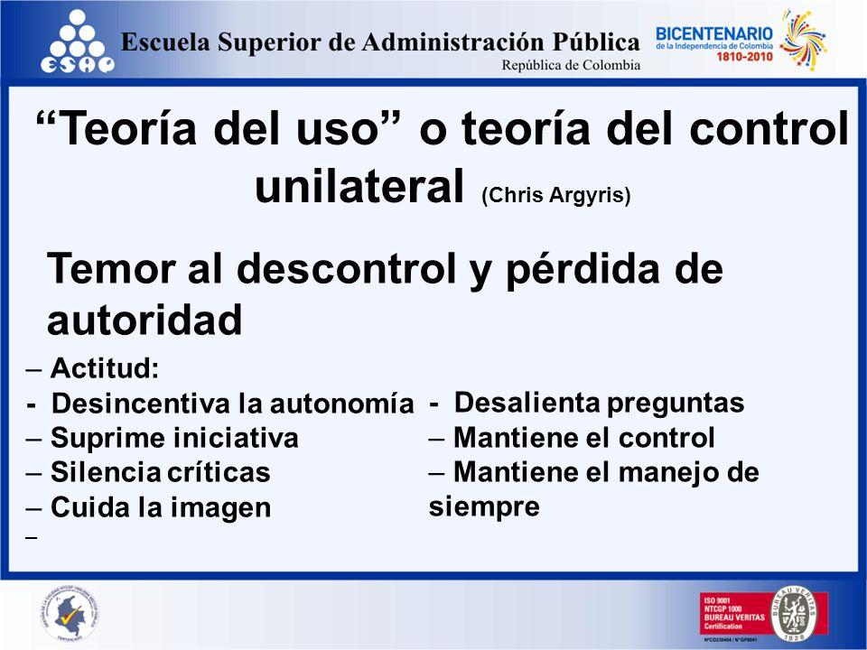 Teoría del uso o teoría del control unilateral (Chris Argyris)