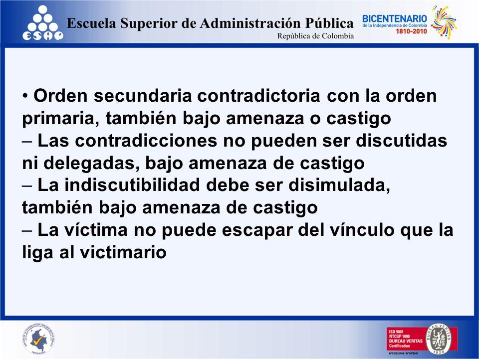 • Orden secundaria contradictoria con la orden primaria, también bajo amenaza o castigo