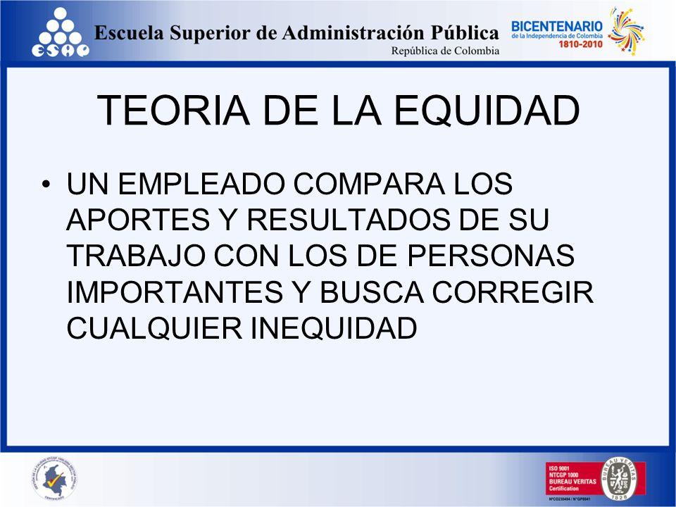 TEORIA DE LA EQUIDAD UN EMPLEADO COMPARA LOS APORTES Y RESULTADOS DE SU TRABAJO CON LOS DE PERSONAS IMPORTANTES Y BUSCA CORREGIR CUALQUIER INEQUIDAD.