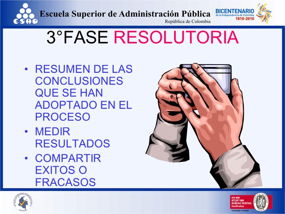3°FASE RESOLUTORIA RESUMEN DE LAS CONCLUSIONES QUE SE HAN ADOPTADO EN EL PROCESO. MEDIR RESULTADOS.