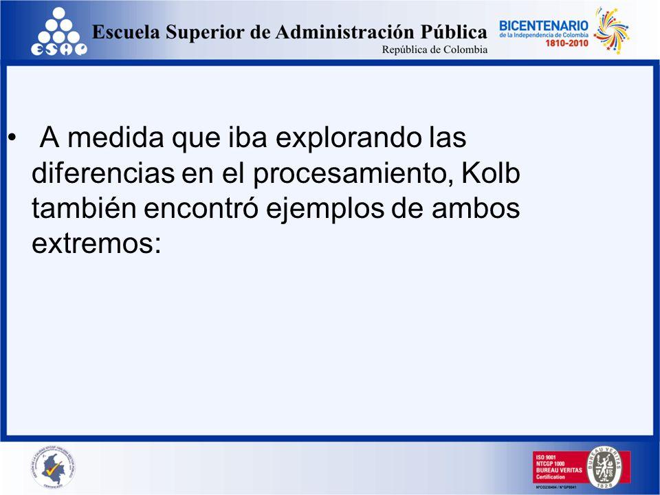 A medida que iba explorando las diferencias en el procesamiento, Kolb también encontró ejemplos de ambos extremos: