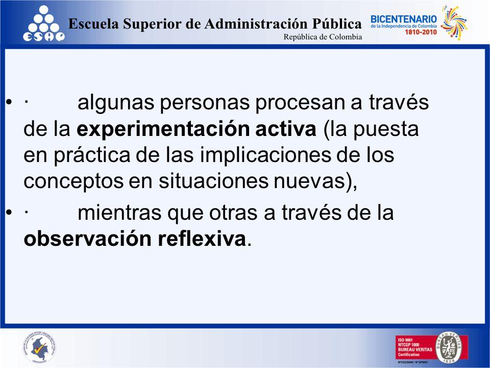 · algunas personas procesan a través de la experimentación activa (la puesta en práctica de las implicaciones de los conceptos en situaciones nuevas),