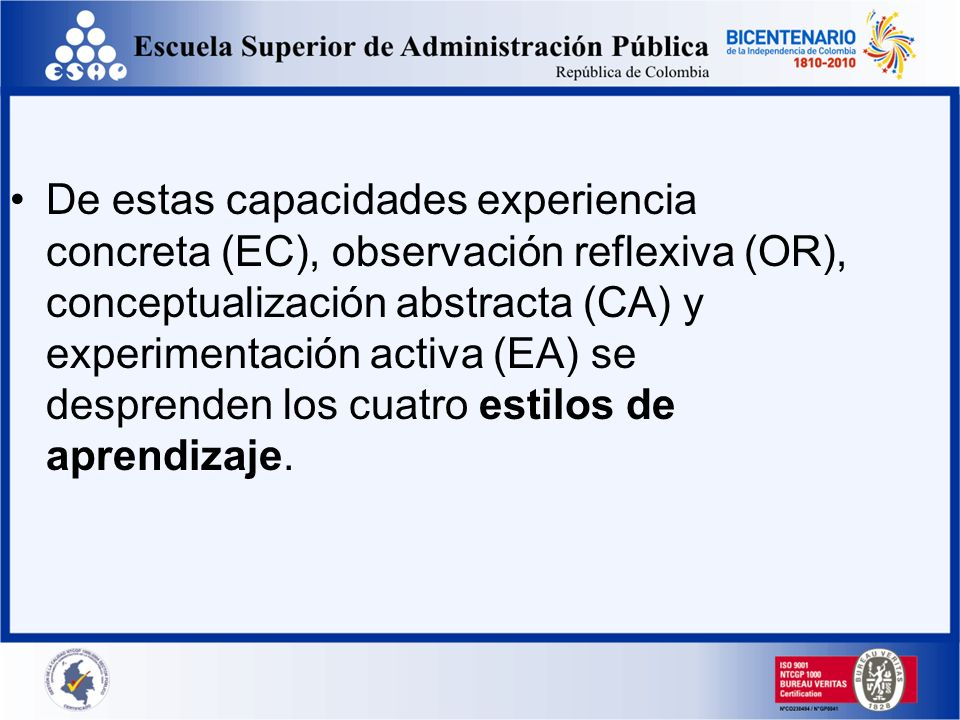 De estas capacidades experiencia concreta (EC), observación reflexiva (OR), conceptualización abstracta (CA) y experimentación activa (EA) se desprenden los cuatro estilos de aprendizaje.